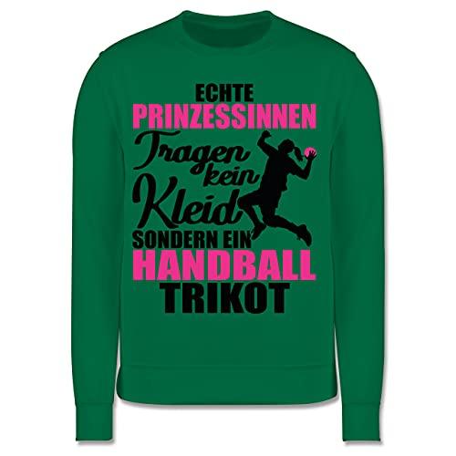 Sport Kind - Echte Prinzessinnen tragen kein Kleid sondern EIN Handball Trikot - schwarz/Fuchsia - 152 (12/13 Jahre) - Grün - Sport - JH030K - Kinder Pullover