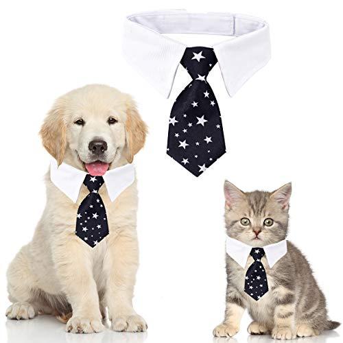 Haustier Krawatte Hundekrawatte Einstellbare Kostüm Hundehalsband für Kleine Hunde und Katzen Hündchen Pflege Krawatten Party Zubehör Weihnachtskostüm (S, Star-Schwarz)