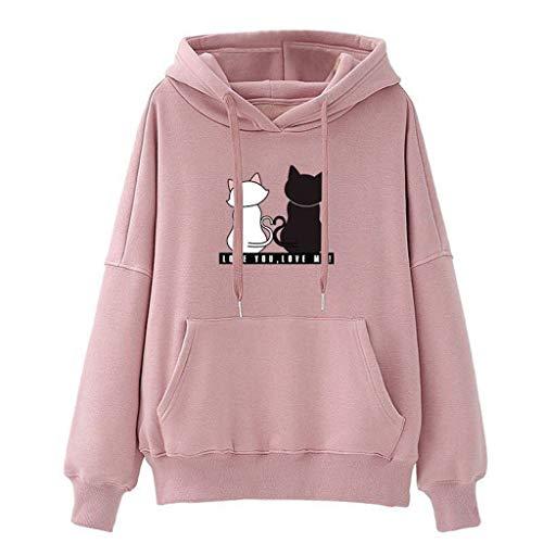 HROIJSL Damen Hoodies Beiläufiges Sweatshirt Winter Damen Baggy Cat Pullover Pullover Tops Lässige Sport lose Katze Kapuzenpullover