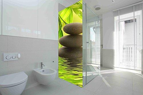 Vinilo para Mamparas baños Piedras de Rio |Varias Medidas 60x185cm | Adhesivo Resistente y de Facil Aplicación | Pegatina Adhesiva Decorativa de Diseño Elegante|