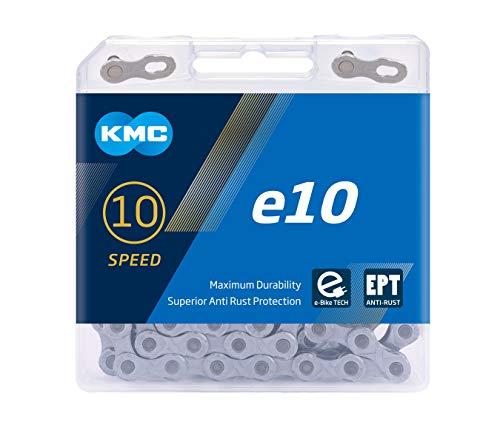"""KMC Unisex– Erwachsene e10 Silver E-Bike 10-Fach Kette 1/2\"""" x11/128, 122 Glieder, Silber"""