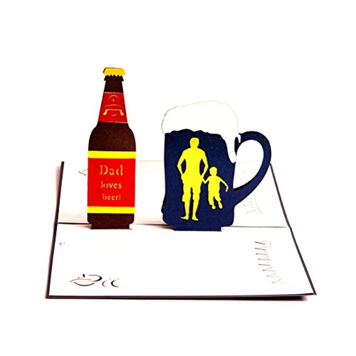BESTOYARD Pop-up-Karten 3D-Grußkarten Dad Liebt Bier Handgemachte Besten Wunsch Kirigami Papier Handwerk Karte Zum Vater Geburtstag Geschenk