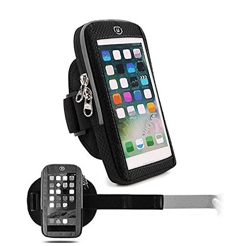 DFV mobile - Funda Brazalete Reflectante con Ventana Tactil Impermeable con 2 Compartimentos Deporte Correr Andar Ciclismo Gimnasio para Blackview A80 Pro (2019) - Negra