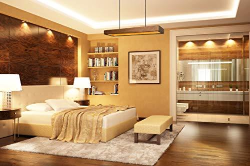 Indirect licht door fraai vergulde hanglamp van eikenhout | De perfecte plafondlamp voor de eettafel in de keuken of de woonkamer