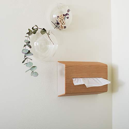 イデアコ ティッシュケース 壁に貼って使えるウォール オークウッド