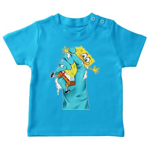 OKIWOKI SpongeBob Schwammkopf Lustiges Türkis Baby T-Shirt - SpongeBob (SpongeBob Schwammkopf Parodie signiert Hochwertiges T-shirt in Größe 18 monate - Ref : 687)