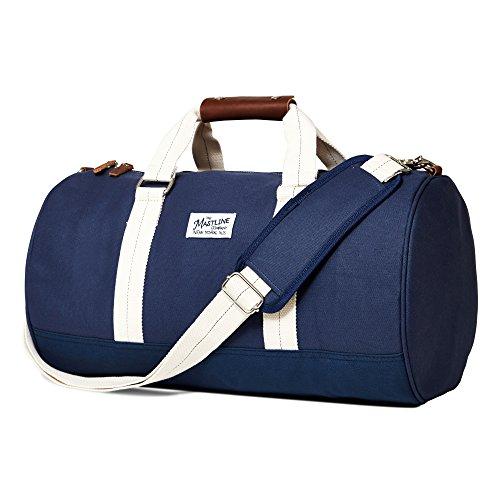 THE MASTLINE Co. | Hudson Barrel Duffel Travel Bag | Canvas & Leather (Navy Blue)