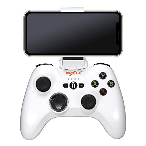 MFI Wireless Game Controller for iPhone/iPad/Apple TV, PXN 6603W iOS Mobile Gaming Controller Gamepad with phone holder (White)
