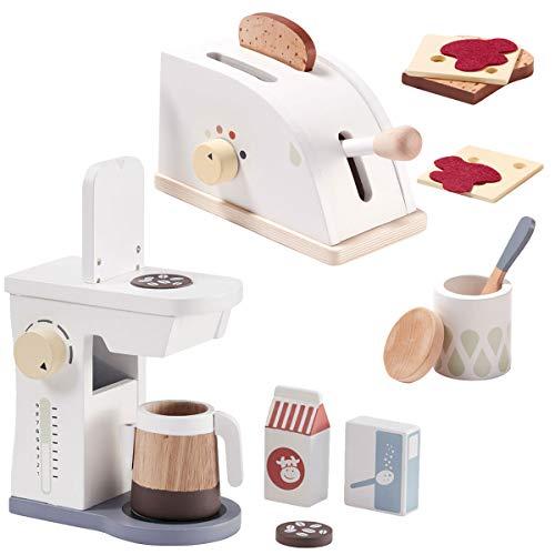 Kids Concept Toaster + Kaffeemaschine - Set aus Holz für die Kinderküche / Spielküche