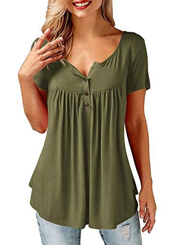 AMORETU T-Shirt Damen V-Ausschnitt Knopfleiste Bluse Solide Tunika Sommer Tops , Kurzarm-armeegrün, XL/DE 50-52