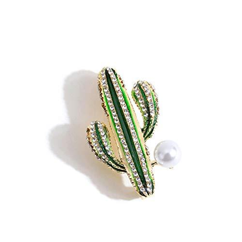 CYPZ 2 Piezas de imitación de circón Cactus Pintado Broche de Perlas Broche Hombres y Mujeres Traje Abrigo Broche decoración