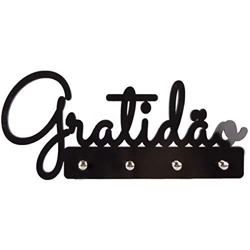 Porta Chaves Palavra Gratidão Preto enfeites decorativos