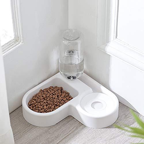 Alimentador automático para gatos para perros y gatos, botella de agua potable, cuencos para gatitos de alimentación lenta, suministros (color: blanco)