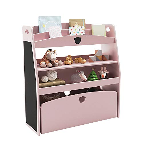 Domy Home Kid's Bookshelf and Storage 32.7'' Wooden Toy Organizer with Shelves Large Nursery Toy Chest Children Bookshelf and Toy Storage Pink