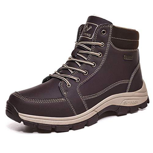 Zapatos de senderismo para hombre, para caminar, para deportes al aire libre, botas de escalada, zapatos de piel cálida, botas de nieve (color de piel marrón, tamaño: 48)