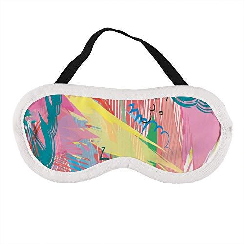 Abstracte kleurrijke verf penseel en slagen scribble lijnen slaap oog masker slapende maskers blinddoek katoen oog kussen zacht voor vrouwen mannen reizen Naps gepersonaliseerd
