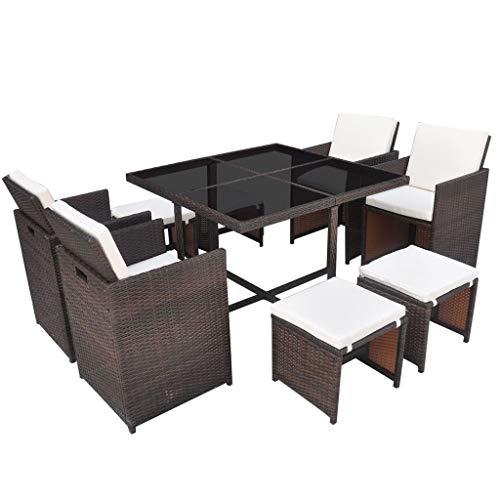 mewmewcat 21-delige tuineetgroep tuinmeubelen set tuintafel en stoelen tafelset zitgroep tafel en stoel set polyrotan bruin en crèmewit