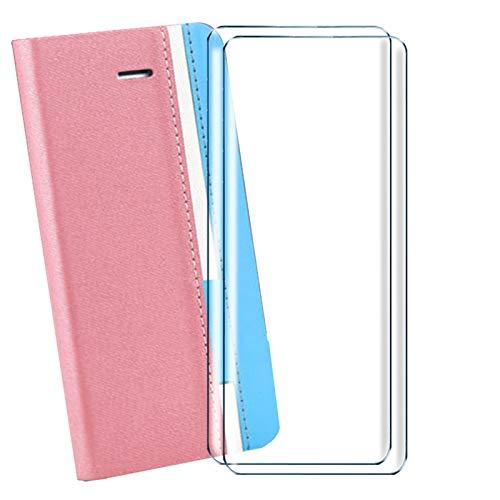 HYMY Hülle für Doogee Mix 2 + 2 Pcs Schutzfolie Panzerglas Folie - Lederhülle Flip Schutzhülle Card Slot mit Brieftasche Handyhülle Bookstyle Flip Cover Hülle-Pink