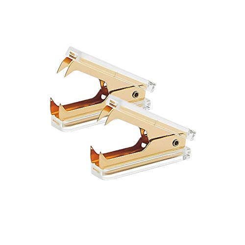 2 Pack Gold Staple Remover Clear Acrylic Golden Glitter Metal Jaws Staples Puller Removal Tool for Home Office School Supplies Desktop Accessories (2)