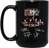 N\A Kiss Rock Band The Final Tour End of The World Tazza da caffè - Regalo Nero per Amico Amante Marito Moglie Fan in Anniversario Natale Compleanno