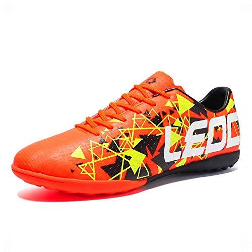 LEOCI Fußballschuhe – Sportliche Fußballschuhe für Herren und Jungen, Outdoor-Fußballschuhe, Orange (Orange), 44 EU
