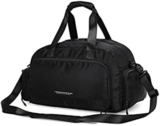 Sports Duffle Bag Travel Holdall Bag with Shoes Compartment & Wet Pocket, 40L Waterproof Gym Bag with Multiple Pockets + Shoulder Strap for Sports, Travelling