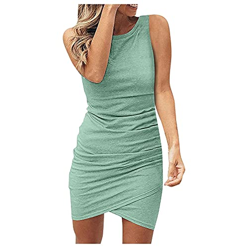 Womens Mini Dress, Elegant Pure Color Sleeveless Crew Neck Ruched Pullover Slim Fit Pencil Summer Dresses
