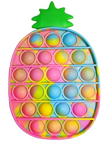 Push Pop Bubble Ananas Fidget Toy Pas Cher,Pincez sensorielle Jouet Anti Stress Bubble Sensory Fidget Toy pour Enfant et Adulte (Ananas Multicolore)
