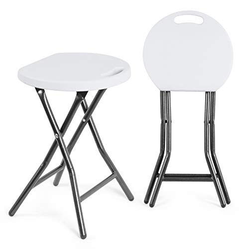 TAVR Portable Folding Stool 18.1 inch Set of 2 Heavy Duty Fold up Stool Foldable Stool for Adults Metal and Plastic Collapsible Round Stool for Kitchen Garden Bathroom,300lbs Capacity,White