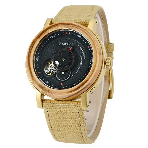 BEWELL Reloj mecánico automático para Hombres de Madera con Esfera de Madera Natural Correa de Lona y Movimiento mecánico Visible W158
