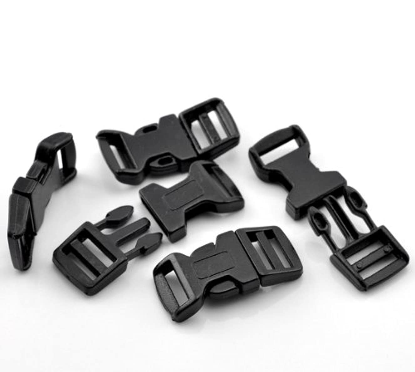 PEPPERLONELY Brand, 50 Sets Black 550 Curved Survival Bracelet Plastic Buckle 4.6x2.1cm(1 6/8