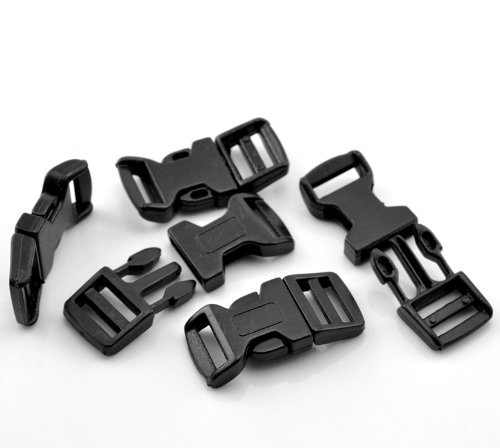 48 Pack Plastic Bracelet Buckles for Survival Style Paracord or Rope DIY (46mm (1 3/4') x 21mm (7/8'))