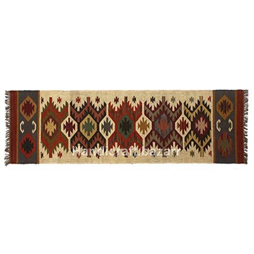 Handgefertigter Bazarr Teppich aus Wolle, 6,3 x 20,3 cm, handgewebt, Kelim-Läufer, Dhurrie-Teppich, Kelim, türkisch, orientalisch, traditionell, Überwurf, handgewebt, Jute Killim Teppich