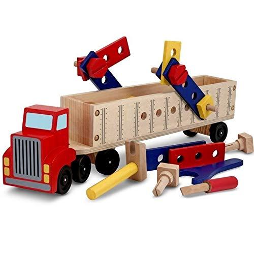 Melissa and Doug - Jouet Gros Camion de Construction en Bois 53 CM avec 22 pièces : Outils, boulons, écrous