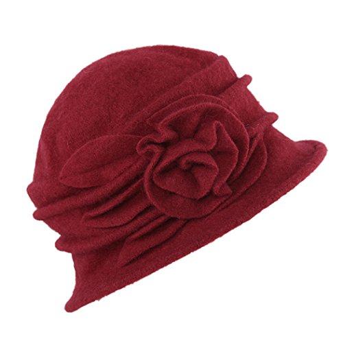 West See Damen Vintage Wolle Cloche Bucket Hut Beret Topfhut mit Blumendetail Wintermütze (rot)