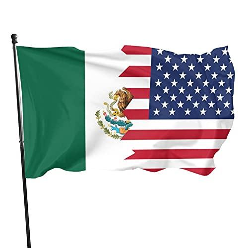 Damingfg Half USA Half Mexico Flag Breeze Flag 3 X 5-100% Polyester Single Layer Translucent Flags 90 X 150cm - Banner 3' X 5' Ft