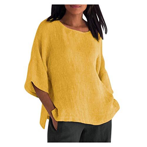 Women Summer Cotton Linen Tshirt Tops Trendy Solid Loose Fit Blouse Lady 3/4 Sleeve Vintage Crewneck Plus Size Clothes