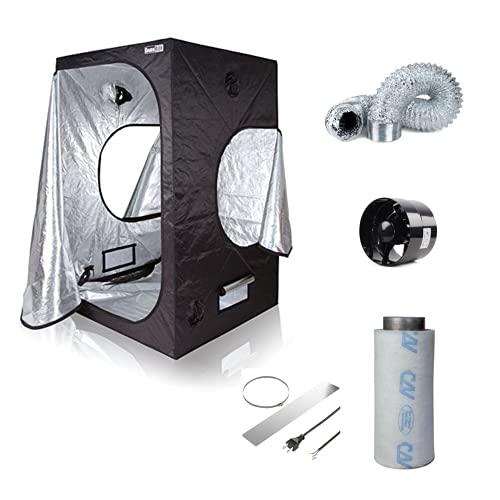 NICEGROW Box Set Zelt Abluft 192 CBM/h Growzelt 60x60x160cm Aktivkohlefilter Grow Tent