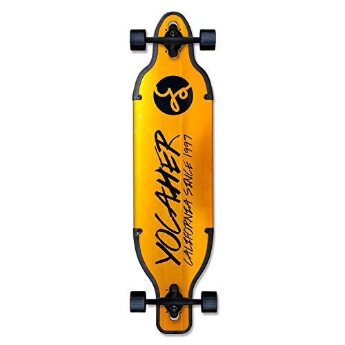 Yocaher Aluminum Drop Through Complete Longboard  Gold and Black  36 inch Boards Gold