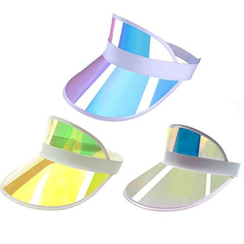 Givocker Women Men Summer Colourful Membrane Sun Visor Caps Transparent Plastic Sun Hat Elastic Headband UV Protection Outdoor Sports Beach Cap White+Pink+Yellow