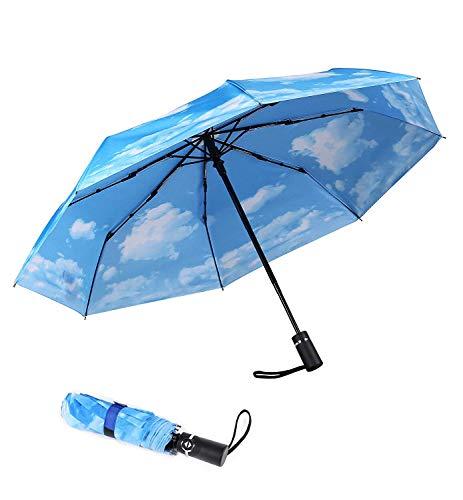 SY - Ombrello Compatto da Viaggio Automatico, Antivento, Forte Ombrello Compatto per Donne e Uomini