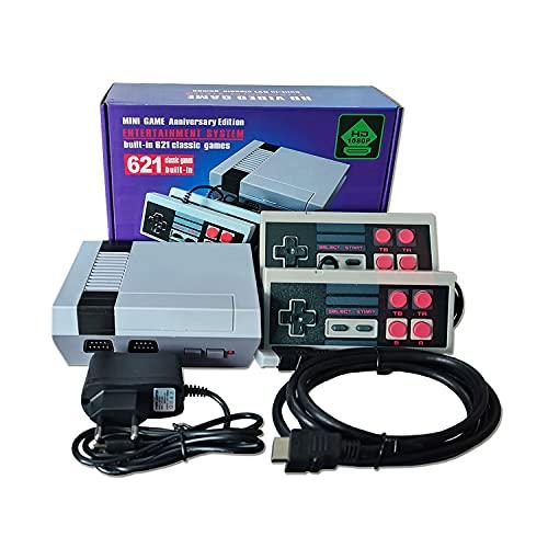 Clásico juego Consola,HD 1080P Mini Consola Retro,Viene con dos asas de Control, 621 Videojuegos Clásicos incorporados, Salida HDMI