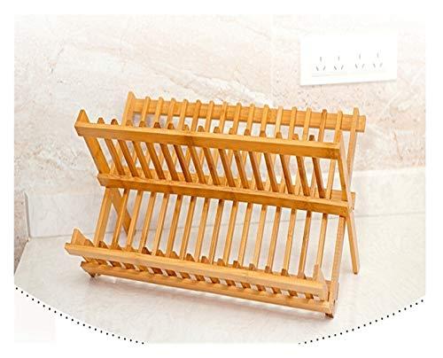 Organizador y almacenamiento de despensa de bambú plegable para platos, escurridor de platos doble, utensilios de cocina, accesorios de cocina, estante para especias