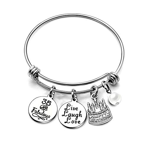 AGR8T Bangle Bracelets Gifts for Her Happy Birthday Bangles Cake Live Laugh Love Charms Women Girl (35th Birthday)