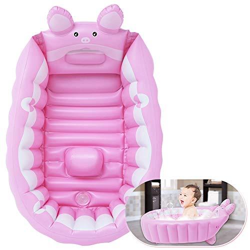 AJAMQ Bañera Plegable para Bebé Recién Nacidos Inflable Bañera Portátil Mini Piscina De Aire Plato De Ducha para Bebés De 0-3 Años,Rosado