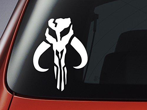 Pegatina de vinilo de la Guerra de las Galaxias de Star Wars, logo mandaloriano de color blanco, Boba Fett, para coche, ventana, pared, ordenador portátil