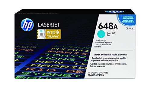 HP 648A CE261A Cian, Cartucho Tóner Original, de 11.000 páginas, para impresoras HP Color LaserJet CP4520, CP4025, CP4525 y CP4020