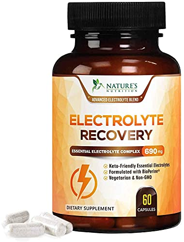 Electrolyte Capsules Extra Strength Salts 690mg - Keto, Cramps, Rehydration, Recovery - Made in USA - Electrolytes Replacement with Magnesium, Sodium, Potassium, Calcium - 60 Capsules