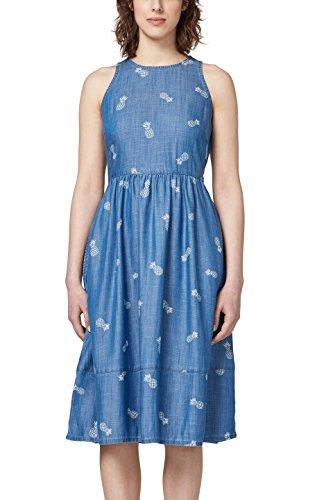 edc by ESPRIT Damen 058CC1E019 Kleid, Mehrfarbig (Blue Medium Wash 902), Small