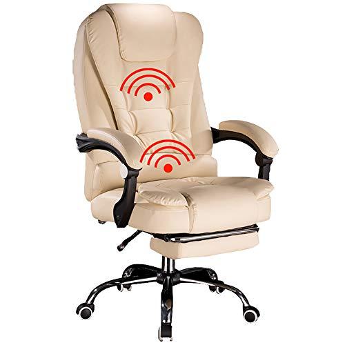 Gaming Chair, Massagestoel, Thuiskantoorstoel, Leren bureaustoel, Bureaustoelen, In hoek verstelbare bureaustoel, Ergonomische bureaustoel Bureaustoel Draaistoel,Beige,B
